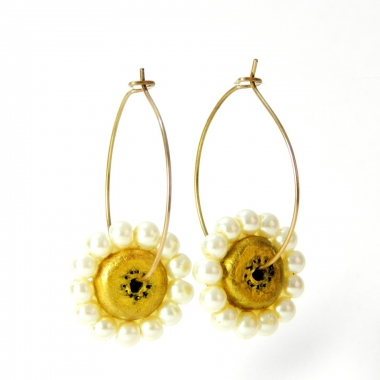 Terracotta Earrings Golden Coloured Pearl Studed hoops Avani on Idiort