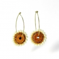 Terracotta earrings online on Idiort pearl studded hoops avani