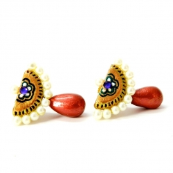 Terracotta Traditional Earrings Studs Handmade Truly Indian Look in chennai from Idiort