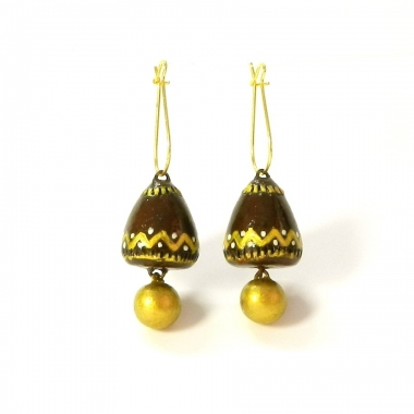 Handmade Terracotta jhumkas by Kshma Designer Studios exclusively on Idiort