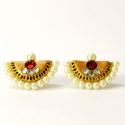 Handcrafted Terracotta Jewellery - Pearl Studded Earrings. Shop Now!