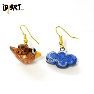 Shop Now! Idiort's conceptual-jewellery-designer-creative-jewellery-Earrings- Bird & Cloud
