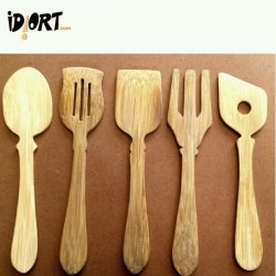 Bamboo Wooden Food Serving Spoons Cutlery Set