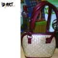 Ladies designer bamboo handbag made from bamboo mat